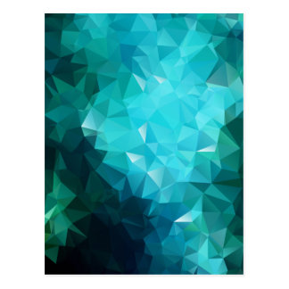 Polygonal Aquamarine Abstract Post Cards