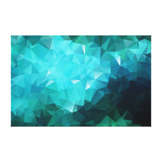 Polygonal Aquamarine Abstract Wrapped Canvas Print