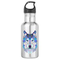 Polygonal geometric wolf head stainless steel water bottle