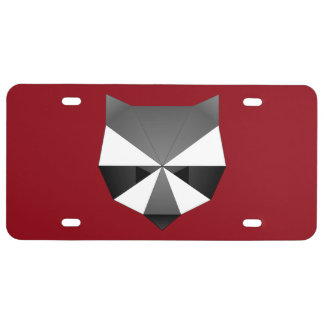 Polygonal Raccoon License Plate