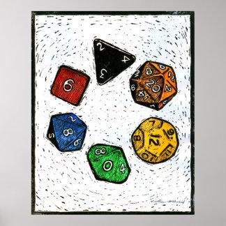 Polyhedron_dice-circle-lino-Outland_Arts-17inch-30 Poster