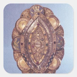 Polylobed elliptical reliquary square sticker