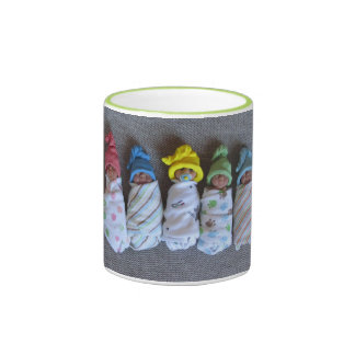 Polymer Clay Babies, Swaddled, With Elf Hats Ringer Mug