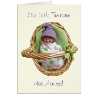 Polymer Clay Baby Birth Announcement: Customizable Card