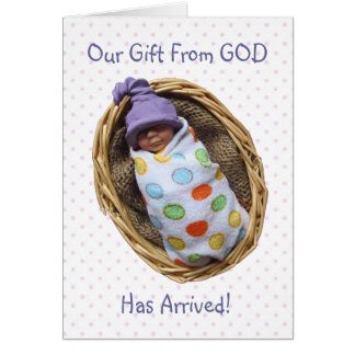 Polymer Clay Baby Birth Announcement:Gift From God Card