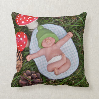 Polymer Clay Baby, Toadstools, Pine Cones Pillow