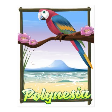 Beach Themed Polynesia Beach travel poster Postcard