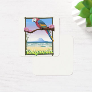 Polynesia Beach travel poster Square Business Card