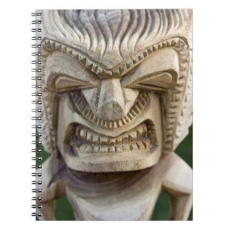 Polynesia, Kingdom of Tonga. Close-up of tiki Spiral Notebook