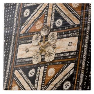 Polynesia, Kingdom of Tonga. Detail of tapa Ceramic Tile