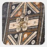 Polynesia, Kingdom of Tonga. Detail of tapa Square Sticker
