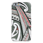 polynesian art red grey tattoo design island hawai barely there iPhone 6 case
