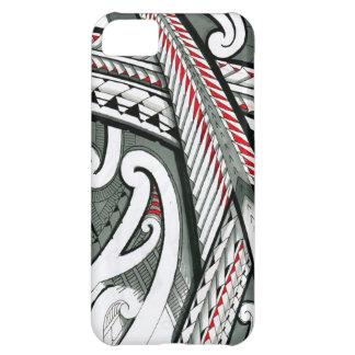 polynesian art red grey tattoo design island hawai cover for iPhone 5C