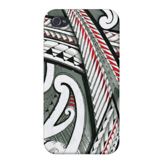 polynesian art red grey tattoo design island hawai covers for iPhone 4