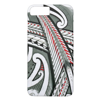 polynesian art red grey tattoo design island hawai iPhone 8 plus/7 plus case