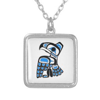 Polynesian bird silver plated necklace