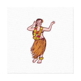 Polynesian Dancer Grass Skirt Linocut Gallery Wrapped Canvas