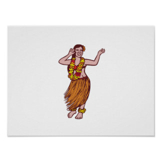Polynesian Dancer Grass Skirt Linocut Posters
