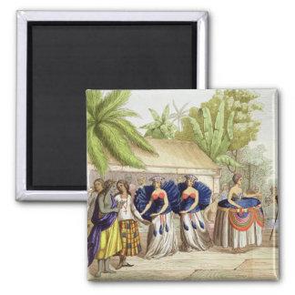 Polynesian Dancing Girls, engraved by A. Bernati ( Magnet
