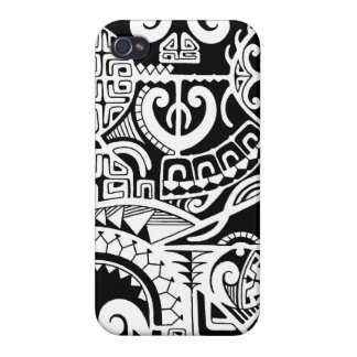 Polynesian lizard and mask tattoo design iPhone 4/4S cases