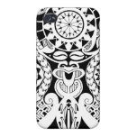 Polynesian lizard and mask tattoo design covers for iPhone 4