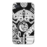 Polynesian lizard and mask tattoo design iPhone 4 covers
