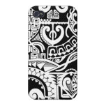 Polynesian lizard and mask tattoo design iPhone 4 cover
