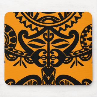 Polynesian mask tattoo with mandala sun pattern mouse pad