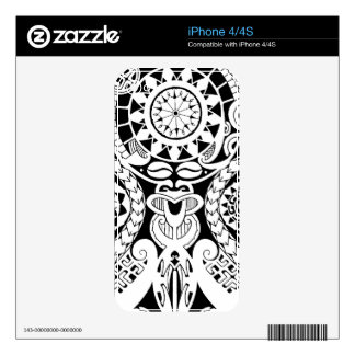Polynesian mask tattoo with tribal sun decals for the iPhone 4