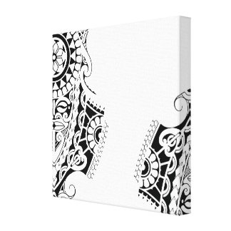 Polynesian mask tribal tattoo design canvas print