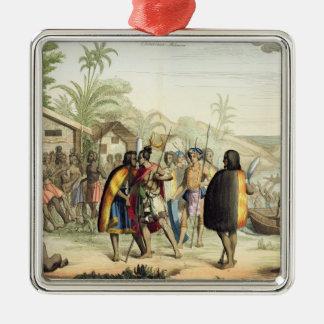 Polynesian Natives Greeting and Rubbing Noses, eng Metal Ornament