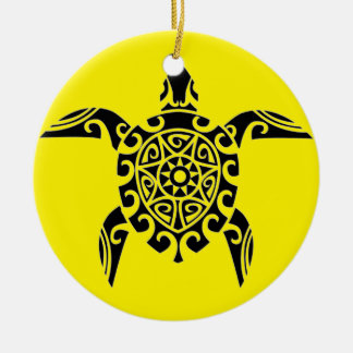 Polynesian Pacific Island tattoo design Turtle Double-Sided Ceramic Round Christmas Ornament