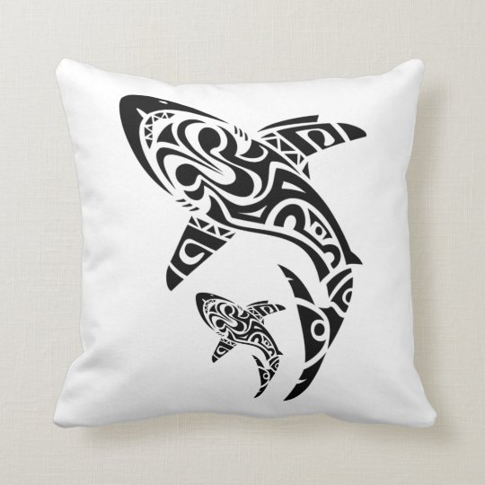 Polynesian Shark Tattoo Design Cushion Zazzle Com