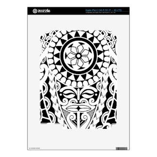 Polynesian sun & mask tattoo design iPad 3 skin