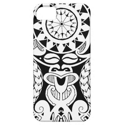 Polynesian tattoo design with lizard and tiki mask iPhone