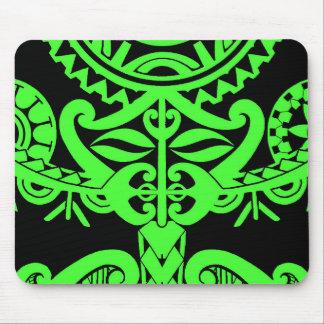 Polynesian tiki face tattoo mandala sun design mouse pad