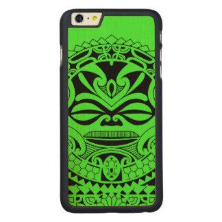 Polynesian tiki mask design carved maple iPhone 6 plus slim case