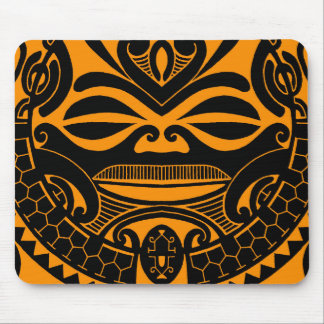 Polynesian tiki mask design mouse pad