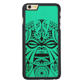 Polynesian tiki mask tattoo totem face carved maple iPhone 6 plus slim case