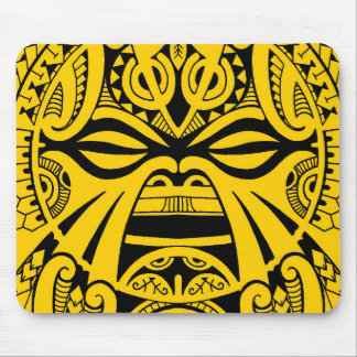 Polynesian tiki mask tattoo totem face mouse pad