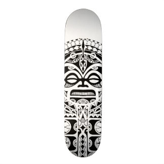 Polynesian Tiki tribal mask tattoo Skateboard