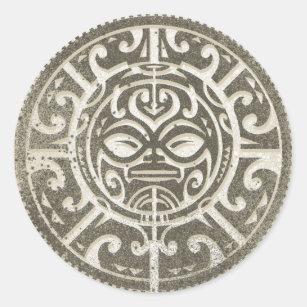 0ea116608 Polynesian Tribal Face Brown Classic Round Sticker