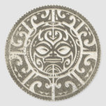 Polynesian Tribal Face Brown Classic Round Sticker