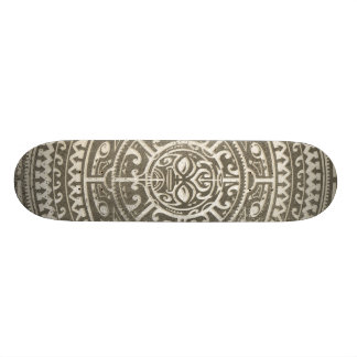 Polynesian Tribal Face Brown Skateboard Deck