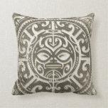 Polynesian Tribal Face Brown Throw Pillow