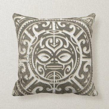 Brewerarts Polynesian Tribal Face Brown Throw Pillow