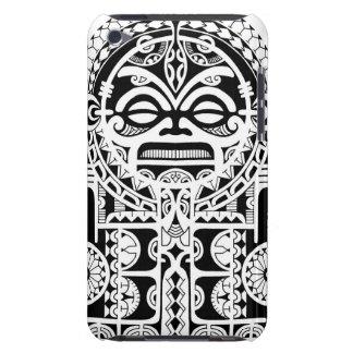 Polynesian tribal tattoo design with tiki mask iPod touch case