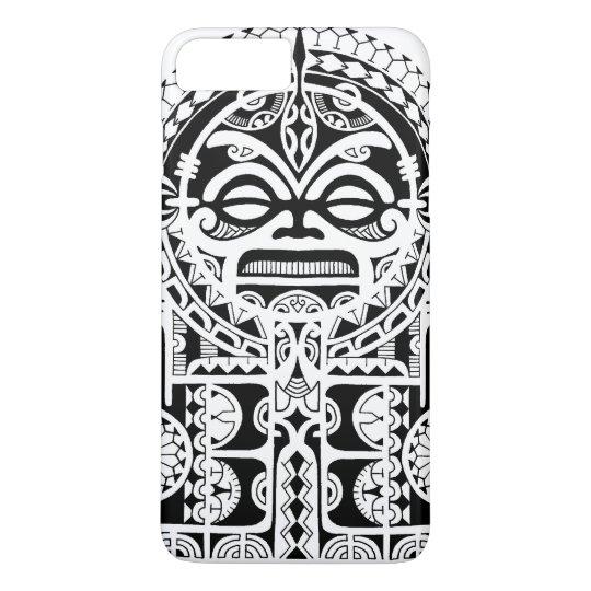 Polynesian tribal tattoo design with tiki mask iPhone 8 plus/7 plus ...
