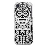 Polynesian tribal tattoo design with tiki mask iPhone 4/4S cases