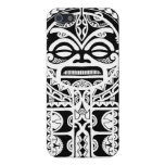 Polynesian tribal tattoo design with tiki mask cover for iPhone 5/5S